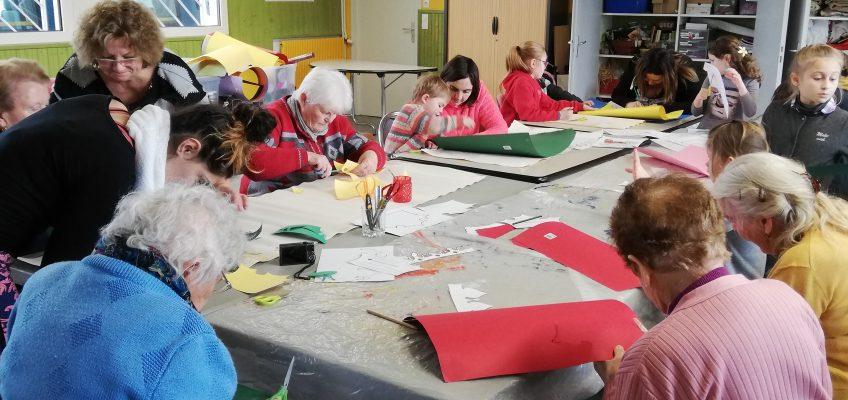 Atelier galette des rois et fabrication de couronne avec des résidents de l'EHPAD
